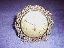 Vintage rare rhinestone jewel Ingraham Aristocrat Radium alarm clock glow - dark