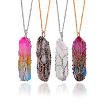 2019 Clear Rainbow Crystal Tree of Life Chakra Pendant Bronze Wire Wrap Necklace
