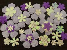 50 fabric FLOWERS FFE19L Hair Clip Head Band Sewing Scrapbook Wedding Cards