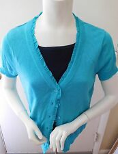 NWOT  Sweaterworks Short Sleeved Turquoise Sweater- w/ Silk Trim-PL