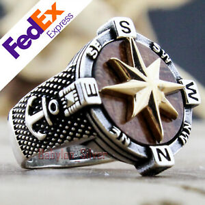Natural Snake wood Turkish 925 Sterling Silver Compass Men's Ring All Sizes