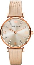 New Emporio Armani AR1681 Retro Rose Gold Cream Leather Band Ladies Women Watch