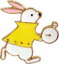 47120 White Rabbit Holding Clock Alice Wonderland Animal Retro Enamel Pin Lapel