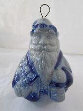 Vintage Blue Salt Water Glaze Pottery Blue Santa Claus Christmas Ornament