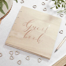 Rose Gold Guest Book  wooden cover - Rustic Wedding Special Occasion Guest Book