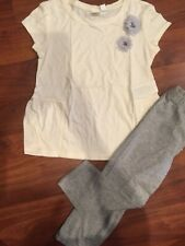 Sz 6 7 Gap Kids 2pc Ivory peplum shirt gray Capri Crop leggings Outfit Girl Nwt