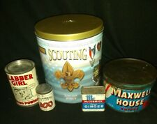 Lot Of 5 Tins Maxwell House CLABBER girl scouting