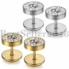 10MM Men Women Stud Earrings Stainless Steel Illusion Tunnel Plug Screw Back 2pc