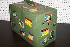 VINTAGE PET CARRIER WITH OLD TRAVEL STICKERS LUGGAGE SUITCASE UNIQUE