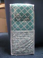2 Standard Pillowcase Medallion Teal 100% Cotton 330 Thread-Count