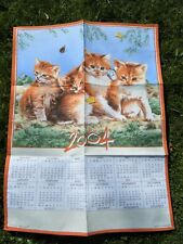 TORCHON CALENDRIER 2004 CHATS CHATONS ROUX PAPILLONS NEUF