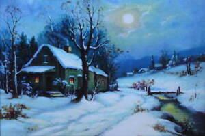 Winter Moon Light Night House Steam Wm Thompson Vintage art