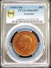 Australia George VI Penny 1943-I (b), PCGS MS64 Brown Gold Shield.