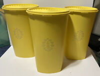 "Lot of 3 1222-5 Tupperware Large Tall Servalier Yellow Canister Lids 10.5"" x 6.5"
