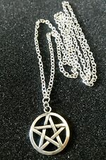 "Pentacle Pentagram Star Tibetan Silver Charm Pendant, Long 30"" Chain Necklace"
