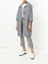 S Max Mara Striped Cocoon Coat Size 10 Black and White Oversized Lightweight