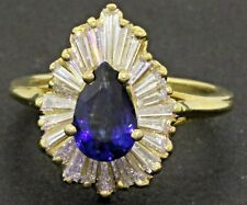 18K gold 3CTW VS diamond & 8.3 X 5.3mm Pear Blue sapphire cluster cocktail ring