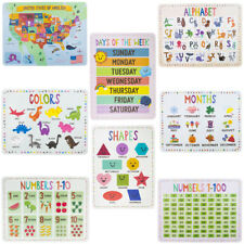 """8 Pack Kids Educational Classroom Posters 22"""" Colors Map Shapes Numbers Months."""