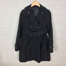 Theory Womens Trench Coat Corduroy Black Double Breasted Size Medium