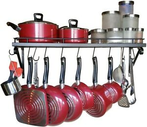 Premium Presents Wall Mounted Pots and Pans Rack Pot Holders with 10 Hooks