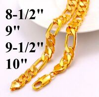 """18k Yellow Gold Mens Figaro Link Chain Bracelet Large Size 8.5"""" 9"""" 9.5"""" 10"""" Inch"""