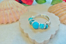 Turquoise Ladies Ring Size 5½ Permanated Colored Silver Plated Wire Wrap Wrapped