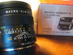 Leica 60mm f/2.8 Macro-Elmarit R, 3 cams, original box, mint