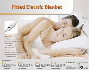 Washable Single/Double/Queen/King/Size Fully Fitted Polyester Electric Blanket