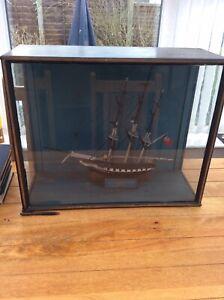 Antique Ship In Large Glass display Case HMS Alexander