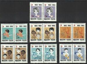 Hungary 1963 MNH 7v, Red Cross, Dental Health, Medical examination Medicine
