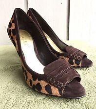 Ralph Lauren LEOPARD Peep-Toe high heels Pony Hair size 6 M Calf or goat hide