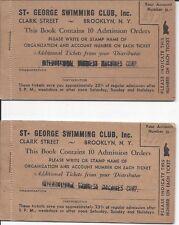 1938 Ticket Books, St. George (Hotel) Swimming Club, Brooklyn NY (for IBM Usage)
