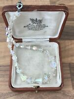 Vintage 1950s Sparkly Aurora Borealis Faceted Glass Necklace