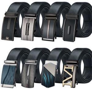Men Belts Black Leather Automatic Ratchet Buckle Formal Suits Dress Waist Zoom