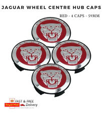 4 x 59MM RED JAGUAR WHEEL CENTRE HUB CAPS JAGUAR XJ/ XJR/ XF/ X/ S TYPE