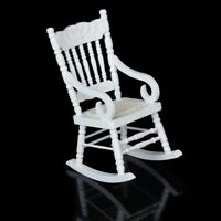 1/12 Miniature Dollhouse Wooden Rocking Chair Model White C3M9 W0H2 A C5Z4