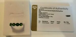 Sterling silver 4 stone chrome diopside ring size R/S with full COA