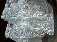 Scintillant ! Superbe voile de mariée brodé à sequins brillants ivoire V14-1,50m
