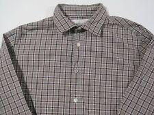 SuperBadShirt LS shirt gray blk red plaid w flip cuffs size L Large    ZH