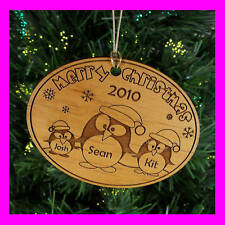 """PERSONALIZED CUSTOM """"MERRY CHRISTMAS"""" WOOD ORNAMENT FAMILY, send Names & Year"""