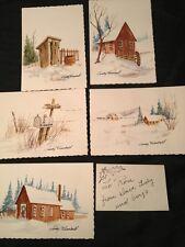 Judy Kimball Watercolor 5 Minature Pictures Farm Snow Scene Art