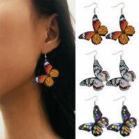 Fashion Butterfly Printed Leather Earrings Drop Dangle Hook Stud Women Party Hot