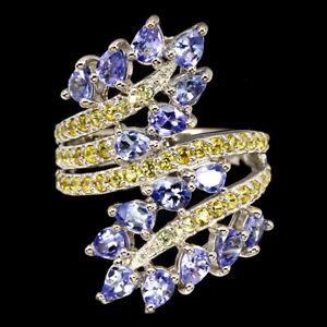Unheated Pear Tanzanite 4x3mm Sapphire Diamond Cut 925 Sterling Silver Ring Sz 8