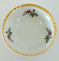 Vintage Lusterware Serving Bowl Made in Japan Trim Floral Roses 7""
