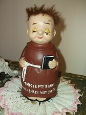 Vtg Monk Coin Bank This Is My Bank Thou Shalt Not Steal Pottery Piggy