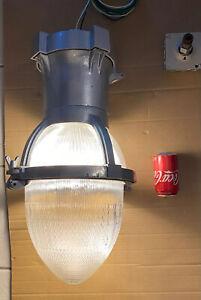 Vintage Industrial Holophane  Street Pole Lights-110 Volt.-W/ Hanging Bracket