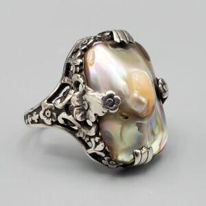 Estate Art Nouveau Ornate Sterling Silver Abalone Blister Pearl Ring Sz 4.5