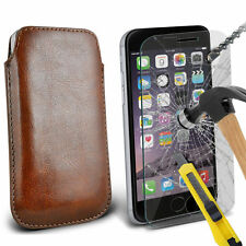 Marrone similpelle custodia pochette linguetta & vetro per Apple iPhone 6 PLUS