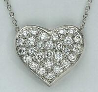 1.10 CT Round Brilliant Cut Diamond Heart Pendant Necklace 14K White Gold Over