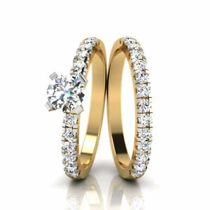 Real 14K Yellow Gold 1.05 Carat Round Solitaire Engagement Ring with Band 5 6 7